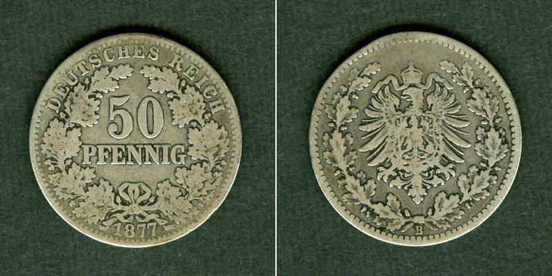 1877 Kleinmünzen 50 Pfennig DEUTSCHES REICH 50 Pfennig 1877 B (J.8) s-ss s-ss