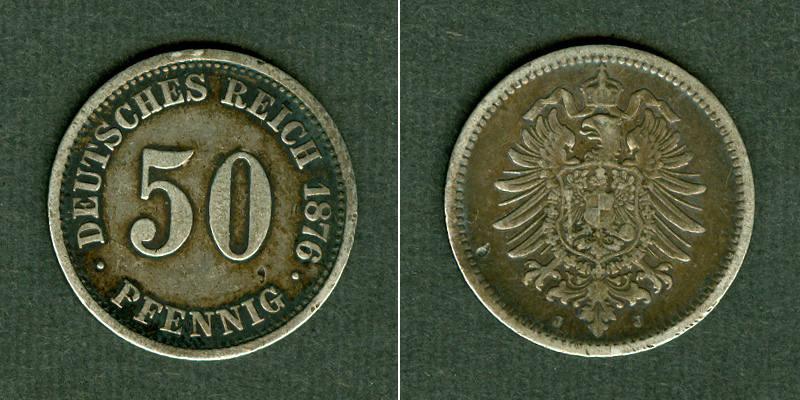 1876 Kleinmünzen 50 Pfennig DEUTSCHES REICH 50 Pfennig 1876 J (J.7) ss ss