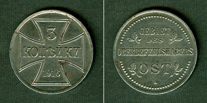 1916 Besetzte Gebiete DEUTSCHES REICH 3 Kopeken 1916 A Oberbefehlshaber Ost vz vz