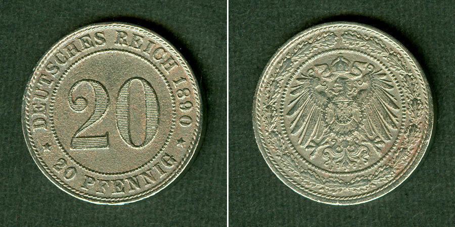 1890 Kleinmünzen 20 Pfennig DEUTSCHES REICH 20 Pfennig 1890 J (J.14) ss selten ss