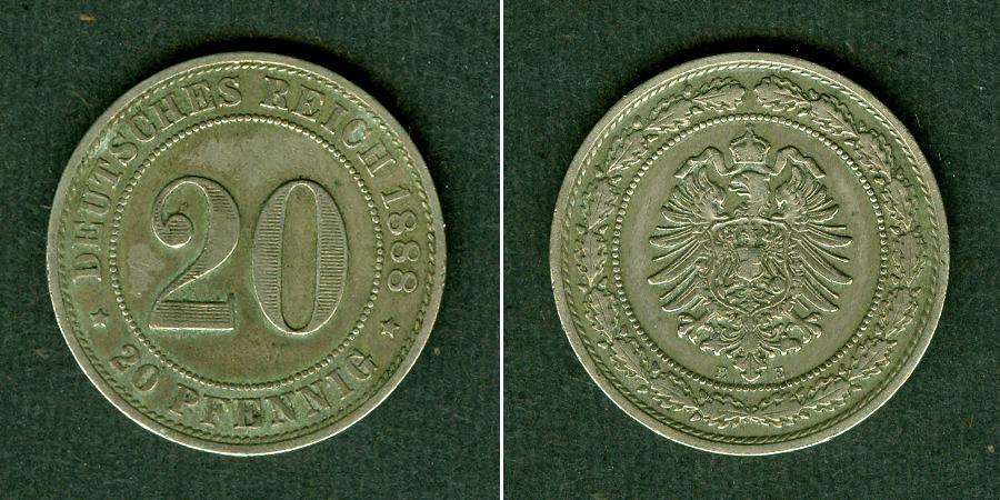 1888 Kleinmünzen 20 Pfennig DEUTSCHES REICH 20 Pfennig 1888 E (J.6) ss+ ss+