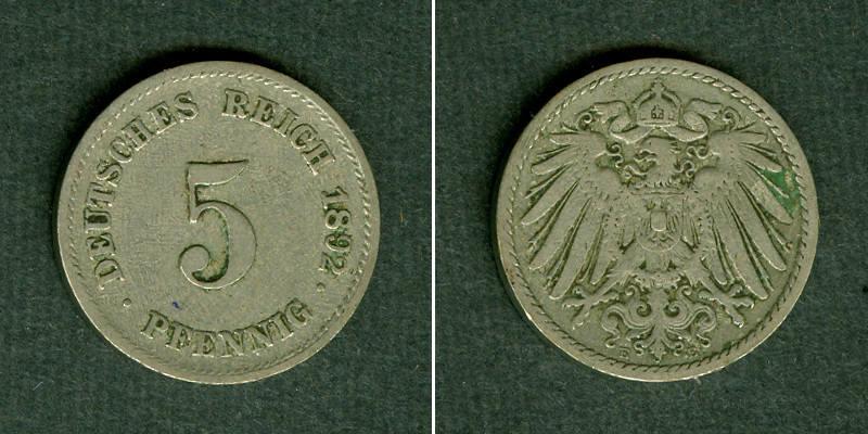 1892 Kleinmünzen 5 Pfennig Deutsches Reich 5 Pfennig 1892 E J12