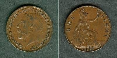 1921 Großbritannien Großbritannien One Penny 1921 ss-vz ss-vz