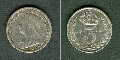 1900 Großbritannien Großbritannien Three Pence 1900 ss+ ss+