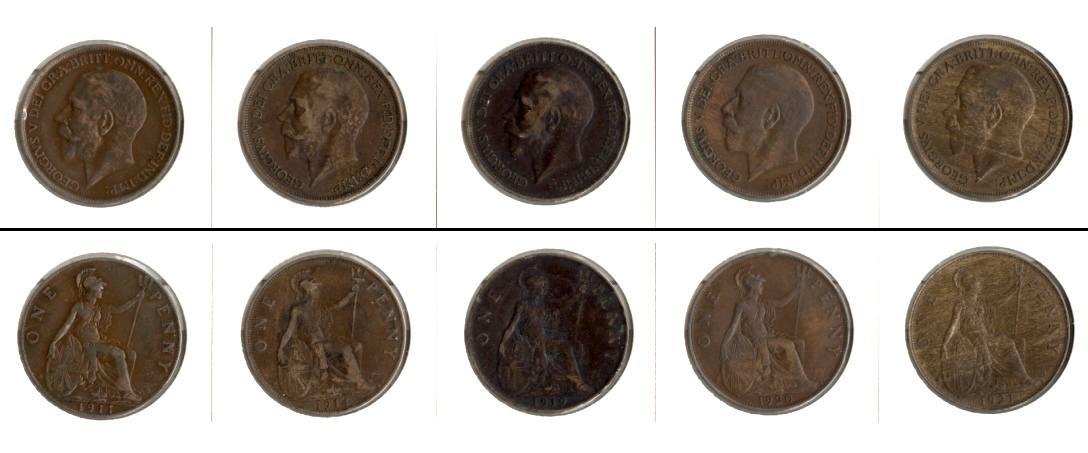 1911-1921 Großbritannien Lot: GROSSBRITANNIEN 5x One Penny [1911-1921]