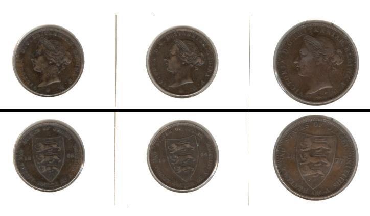 1877-1894 Großbritannien Lot: GB JERSEY 3x Münzen 1/24 + 1/12 Shilling [1877-1894]