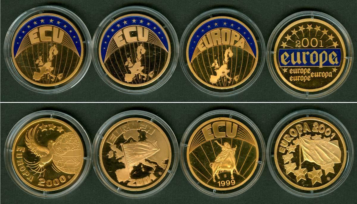 1999-2001 Medaillen und Jetons Lot: DEUTSCHLAND 4x Medaille ECU EURO vergoldet PP [1999-2001] ST aus PP + PP