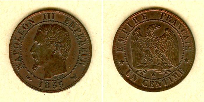 1855 Frankreich FRANKREICH 1 Centime 1855 W ss-vz selten ss-vz