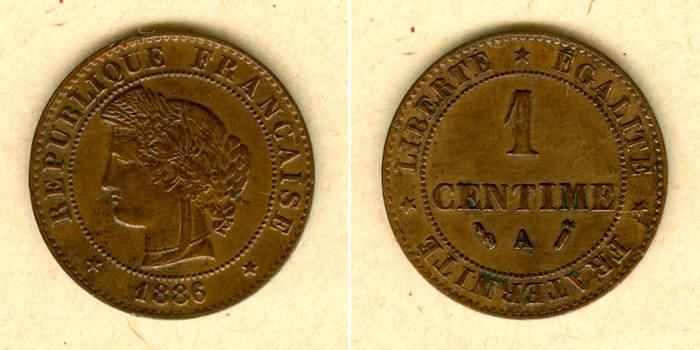 1886 Frankreich FRANKREICH 1 Centime 1886 A ss+ ss+