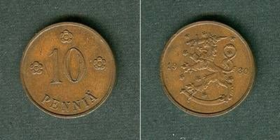 1930 Finnland FINNLAND 10 Penniä 1930 vz+ vz+