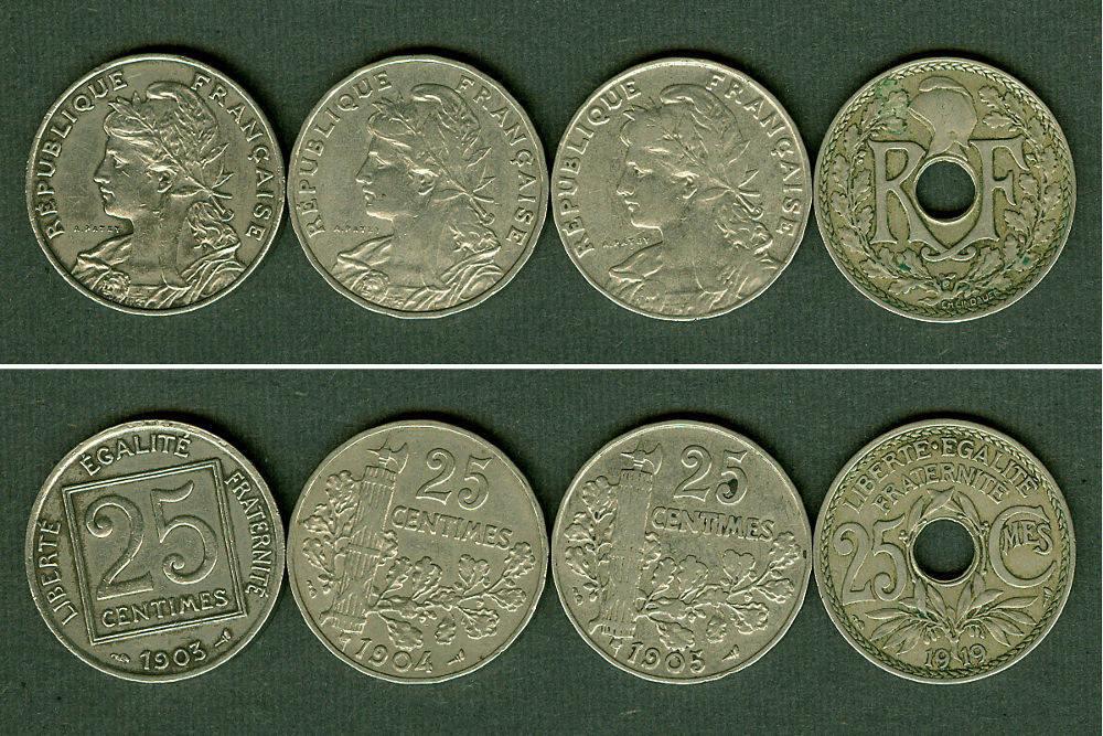 1903-1919 Frankreich Lot: FRANKREICH 4x Münzen 25 Centimes ss+ [1903-1919] Alle um ss bis ss+