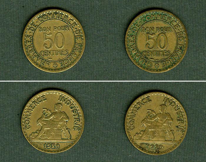 1928-1929 Frankreich Lot: FRANKREICH 2x Münzen 50 Centimes ss [1928-1929] Alle um ss