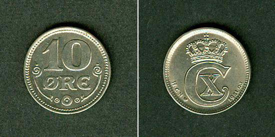 1921 Dänemark DÄNEMARK 10 Öre 1921 vz+ vz+