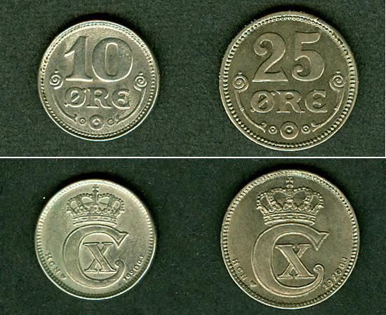 1920 Dänemark Lot: DÄNEMARK 2x Münzen 10 + 25 Öre 1920 ss-vz ss-vz