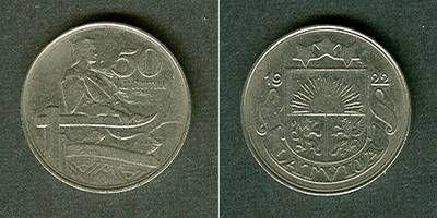 1922 Lettland LETTLAND 50 Santimu 1922 vz vz