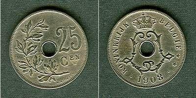 1908 Belgien BELGIEN 25 Centimes 1908 ss+ ss+