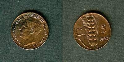 1920 Italien ITALIEN 5 Centesimi 1920 R stgl. stempelglanz