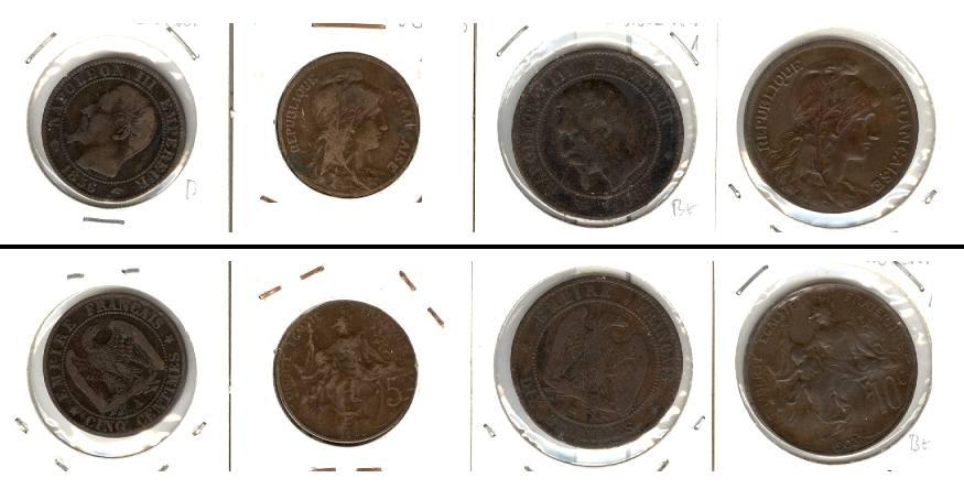 1855-1903 Frankreich Lot: FRANKREICH 4x Münzen 5 + 10 Centimes [1855-1903]