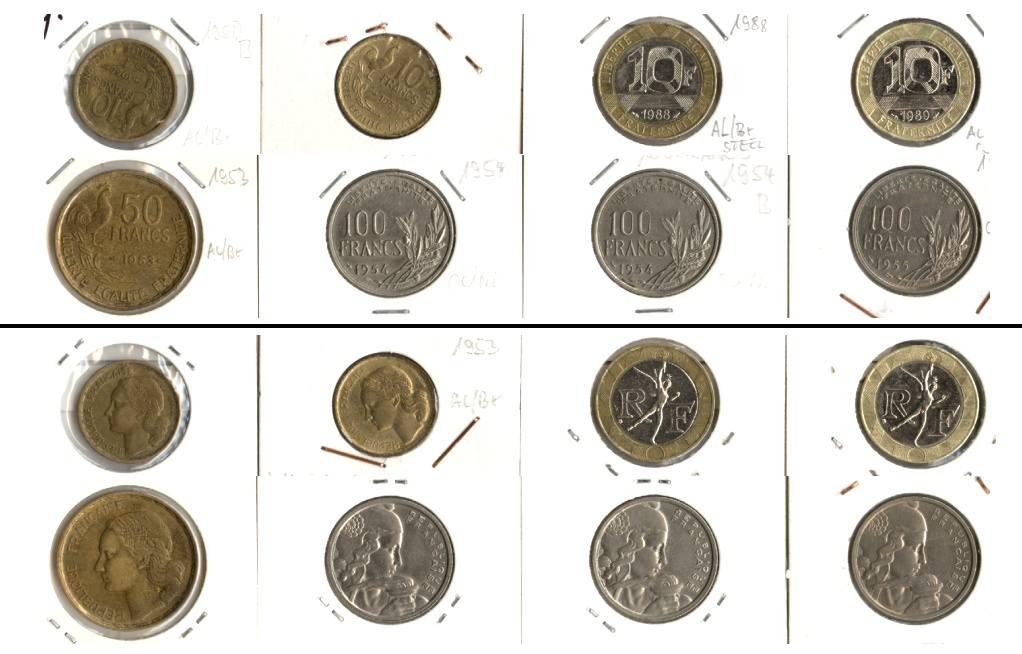 1950-1989 Frankreich Lot: FRANKREICH 8x Münzen 10 - 100 Francs [1950-1989]