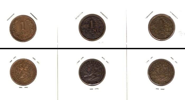 1878-1919 Niederlande Lot: NIEDERLANDE 3x Münzen 1 Cent [1878-1919]