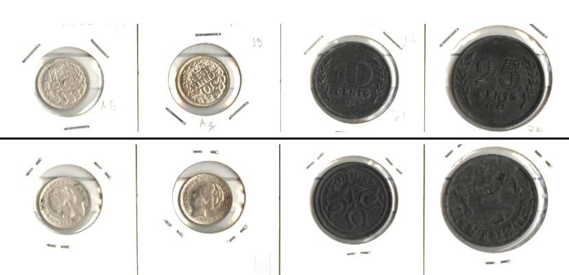 1937-1942 Niederlande Lot: NIEDERLANDE 4x Münzen 10 25 Cents [1937-1942]