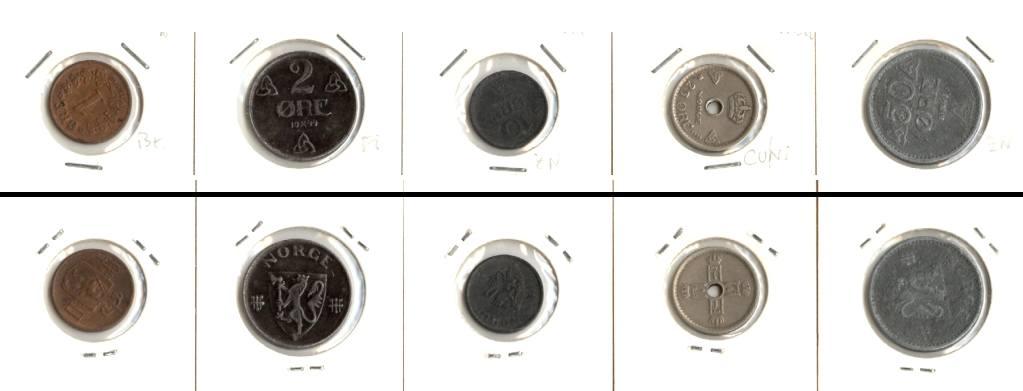 1899-1944 Norwegen Lot: NORWEGEN 5x Münzen 1 - 50 Öre [1899-1944]