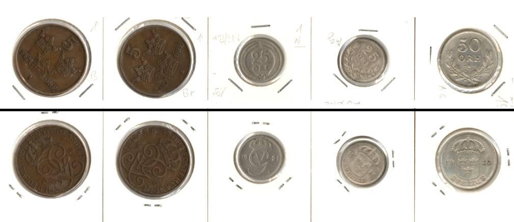 1919-1936 Schweden Lot: SCHWEDEN 5x Münzen 5 - 50 Öre [1919-1936]