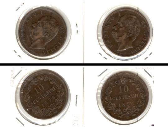 1893-1894 Italien Lot: ITALIEN 2x Münzen 10 Centesimi [1893-1894]