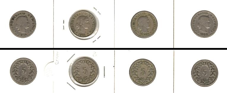 1879-1899 Schweiz Lot: SCHWEIZ 4x Münzen 5 Rappen [1879-1899]