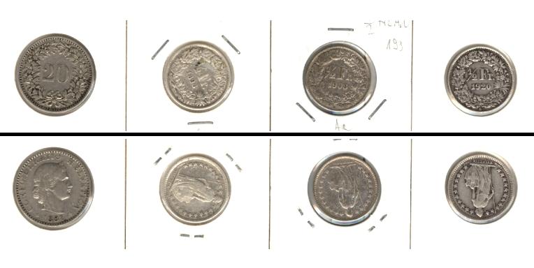 1881-1920 Schweiz Lot: SCHWEIZ 4x Münzen 20 Rappen + 1/2 Fr. [1881-1920]