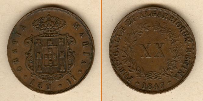 1847 Portugal PORTUGAL 20 Reis 1847 ss+ ss+