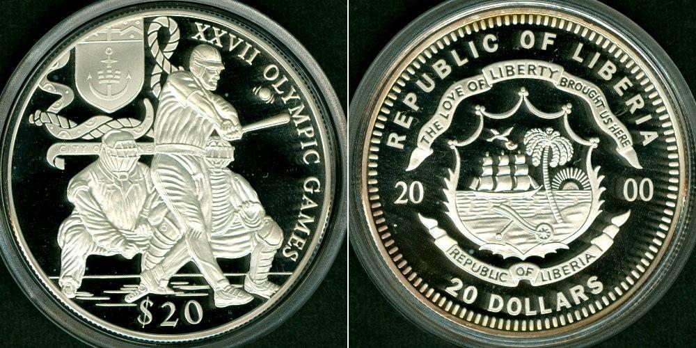 2000 Liberia LIBERIA 20 Dollars 2000 Olympia Sydney SILBER PP Polierte Platte