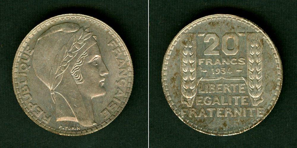 1934 Frankreich FRANKREICH 20 Francs 1934 SILBER vz-stgl. vz-st
