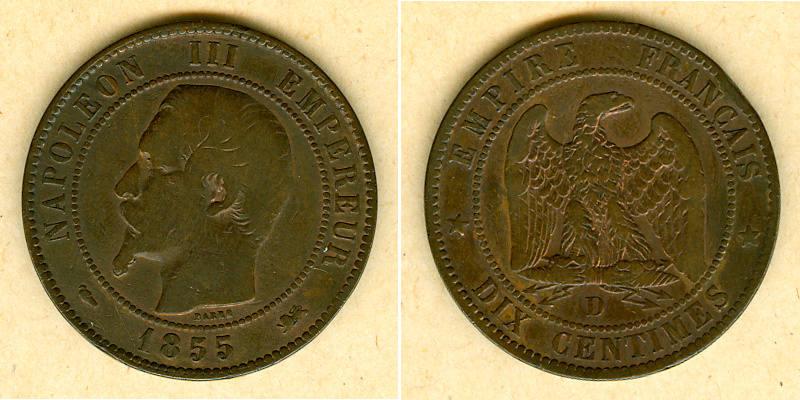 1855 Frankreich FRANKREICH 10 Centimes 1855 D f.ss selten fast ss
