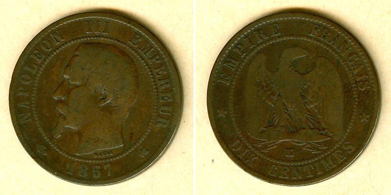 1857 Frankreich FRANKREICH 10 Centimes 1857 K s selten! s