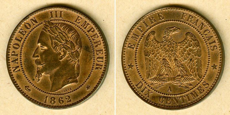 1862 Frankreich FRANKREICH 10 Centimes 1862 A vz-st vz-stgl.!