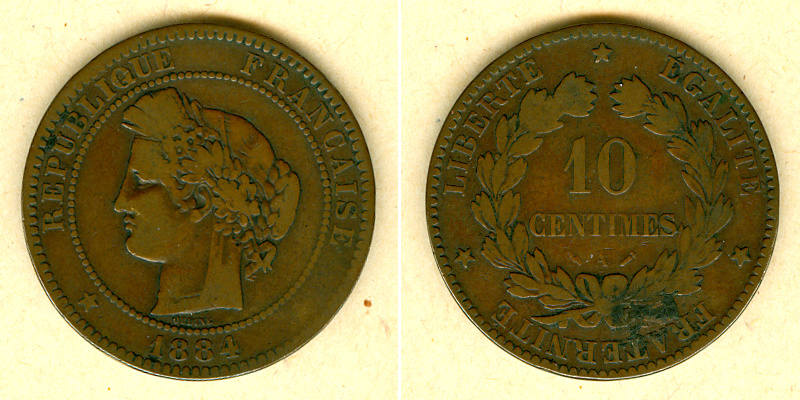 1884 Frankreich FRANKREICH 10 Centimes 1884 A s-ss s-ss