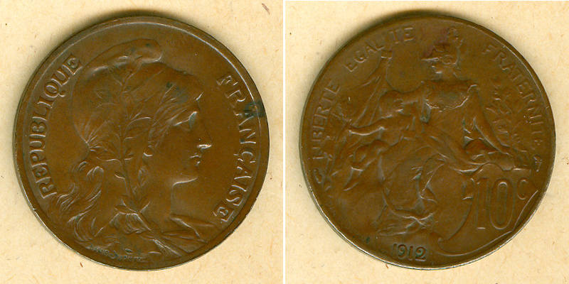 1912 Frankreich FRANKREICH 10 Centimes 1912 ss+ ss+