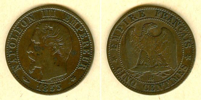 1853 Frankreich FRANKREICH 5 Centimes 1853 BB ss ss