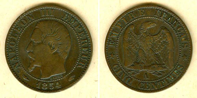 1854 Frankreich FRANKREICH 5 Centimes 1854 A ss ss