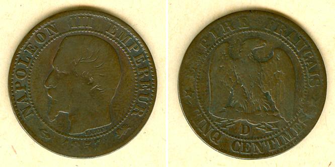 1857 Frankreich FRANKREICH 5 Centimes 1857 D s selten! s