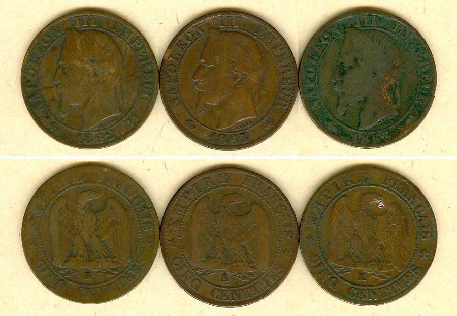 1862-1863 Frankreich Lot: FRANKREICH 3x Münzen 5 Centimes s [1862-1863] Alle um s