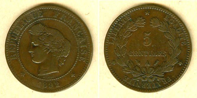 1892 Frankreich FRANKREICH 5 Centimes 1892 A ss ss