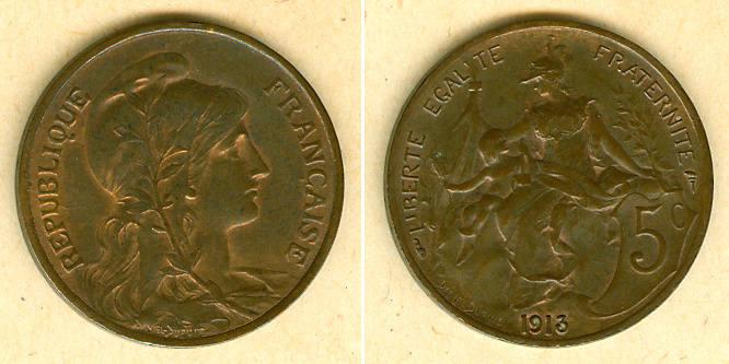1913 Frankreich FRANKREICH 5 Centimes 1913 vz vz mit Resten von stgl.!