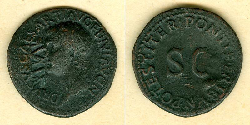 22-23 Tiberius Julius Caesar DRUSUS JUNIOR As m. Gegenstempel s-ss selten! [22-23] s-ss