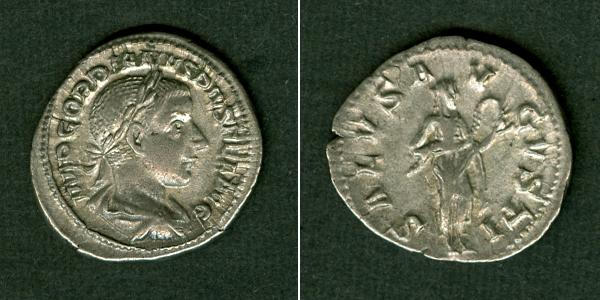 241 Gordianus III. Marcus Antonius GORDIANUS III. Pius Denar selten! ss-vz [241] ss-vz