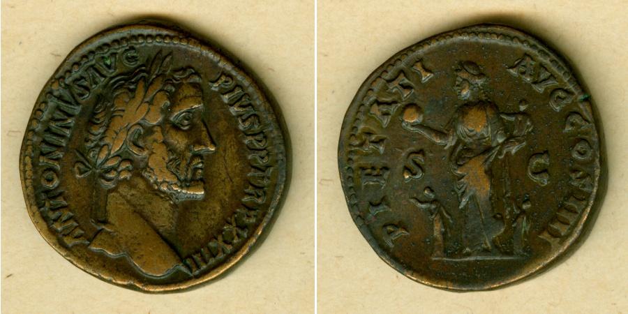 159-160 Antoninus Pius ANTONINUS PIUS Sesterz ss+ [159-160] ss+