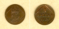 Bayern  Bayern 1 Heller 1829  f.st  selten!