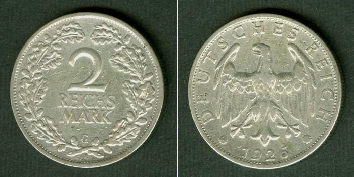 1926 2 Mark DEUTSCHES REICH 2 Reichsmark 1926 G (J.320) ss ss