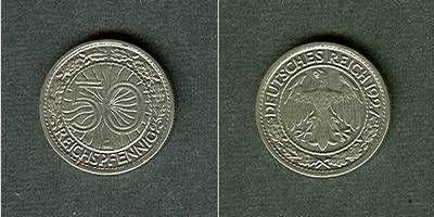 1927 Weimarer Republik DEUTSCHES REICH 50 Reichspfennig 1927 G (J.324) ss-vz ss-vz